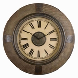 Classic Wall Clock With Woven Rattan Frame And Bronze Accents Brand Uttermost