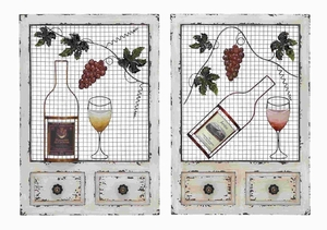 Classic Wood Metal Wall Decor 2 Assorted with Entwined Glasses Brand Woodland