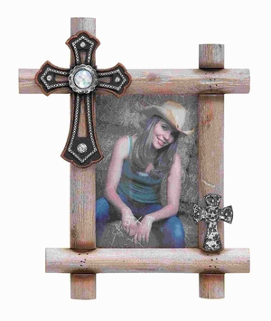 Classic Wood Picture Frame 5X7 with Decorative Crosses Brand Woodland