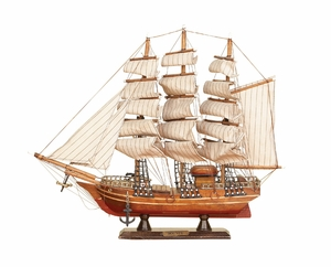 Classic Wood Ship in Brown Finish with Intricate Designs Brand Woodland
