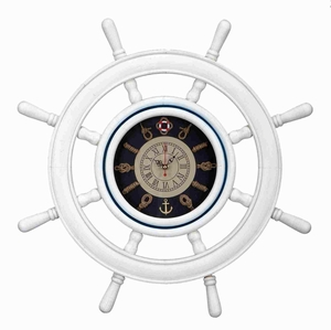 Classic Wood Ship Wheel Clock in Beautiful White Finish Brand Woodland