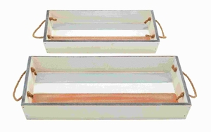 Wood Tray with Durable and Long Lasting Life - Set of 2 - 78700 by Benzara