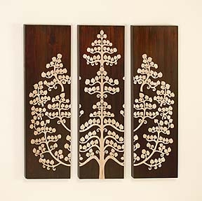Classic Wood Wall Decor Sculpture with Tree Life  - Set of 3 Brand Woodland