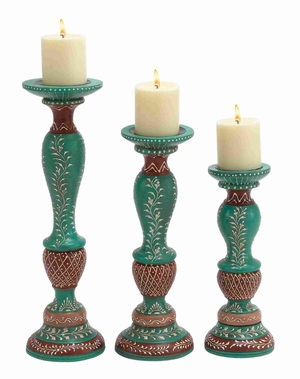 Classic Wooden Candle Holder in Black and Brown Set of 3 Brand Woodland