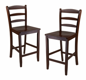 "Winsome Wood Classic Wooden Counter Set of 2 24"" Ladder Back Stool with Sturdy Legs"
