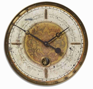 Classical Wall Clock With Aged Brass and a Long Pendulum Brand Uttermost