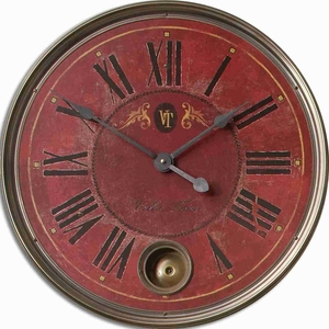 Classical Wall Clock With Brass and an Internal Pendulum Brand Uttermost