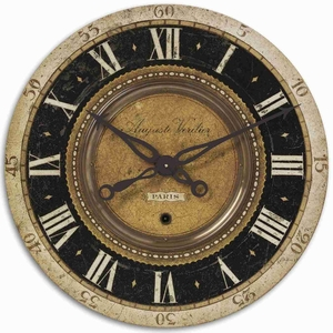 Classical Wall Clock With Distressed and Brass Finish Brand Uttermost