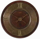 Classical Wall Clock With Distressed Mahogany and Brass Finish Brand Uttermost