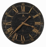 Classical Wall Clock With Weathered Alloy and Brass Finish Brand Uttermost