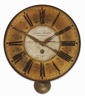 Classical Wall Clock With Weathered Brass and a High Hanging Pendulum Brand Uttermost
