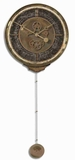 Classical Wall Clock With Weathered Brass and a Long Pendulum Brand Uttermost