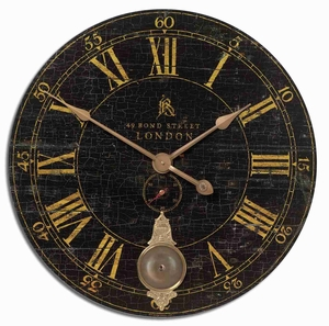 Classical Wall Clock With Weathered Brass and an Internal Pendulum Brand Uttermost