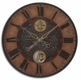 Classical Wall Clock With Weathered Brass and  Internal Pendulum Brand Uttermost