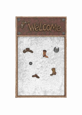 Classy American Cowboy Themed Wooden Note Board Brand Benzara
