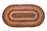 Classy and Arty Burgundy Tan Jute Rug Oval by VHC Brands