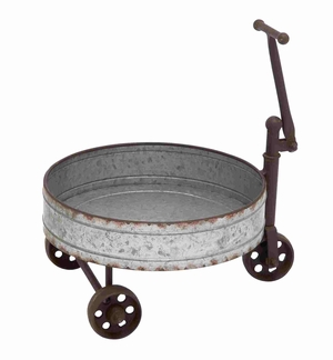 Classy and Authentic Metal Barrel Cart Brand Benzara