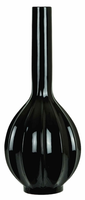 Classy and Elegant Ceramic Vase in Glossy Black Finish Brand Woodland