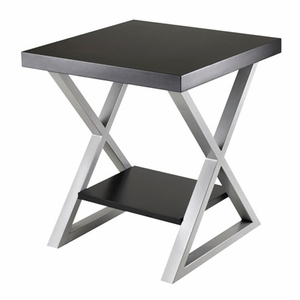 Classy and Elegant Korsa End Table with Black Top by Winsome Woods
