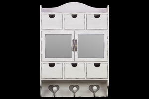 Classy and Elegant White Wooden Cabinet with Unique Design by Urban Trends Collection