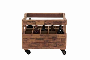 Classy and Elegant Wooden Wine Caddy with Wheels Brand Benzara