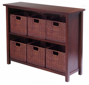 Winsome Wood Classy and Trendy Milan 7pc Storage Shelf with Baskets