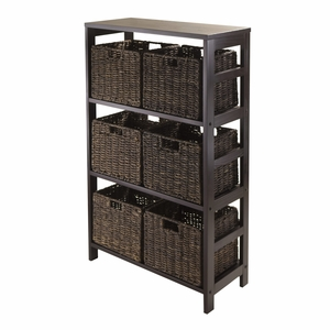 Winsome Wood Classy and Unique Granville 7pc Espresso Storage Shelf with 6 Foldable Baskets