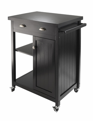 Winsome Wood Classy Black Timber Urban Kitchen Cart With Wainscot Panel
