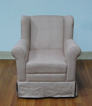 Classy Boys Wingback Arm Chair with Red Ticking by 4D Concepts