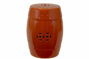 Classy Creatively Carved Ceramic Garden Stool Red by Urban Trends Collection
