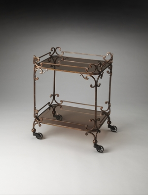 Classy Delphine Iron & Glass Serving Cart by Butler Specialty