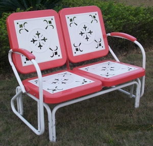 Classy Double Chair with Elegant Cutout Pattern