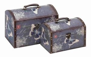 Classy Flip Lid Butterfly Themed Set of Two Cases Brand Benzara