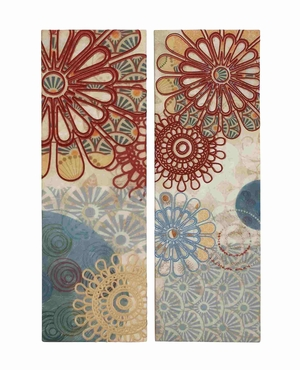 Classy Floral Themed Embroidery Canvas Wall Decorative Brand Benzara