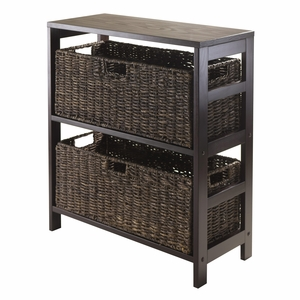 Classy Granville 3pc Storage Shelf With 2 Large Baskets by Winsome Woods