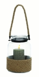 Classy Indian Glass Metal Lantern Rope Handel by Woodland Import