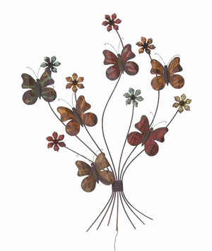 Classy Metal Flowers and Butterflies Wall Art D�cor Brand Benzara