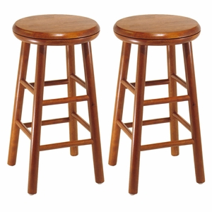 Classy Modish Styled Set of 2, Cherry Swivel Seat Stool by Winsome Woods