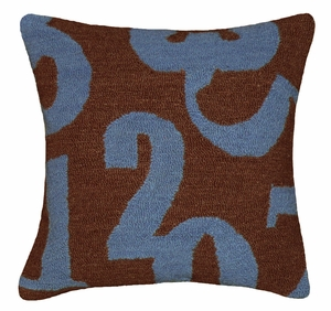"Classy Numbers Blue Brown Hooked Pillow 16x16"" by 123 Creations"