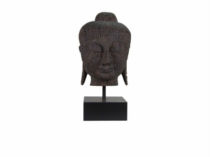 Classy Resin Buddha Bust Antique Wood Texture