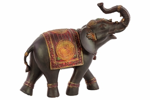 Classy Resin Elephant Small With Red Blanket by Urban Trends Collection