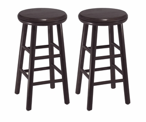 "Winsome Wood Classy Set of 2 Assembled 24"" Dark Espresso Finish Swivel Kitchen Stool"