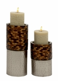 Classy Set of Two Metal Mosaic Candle Holder by UMA