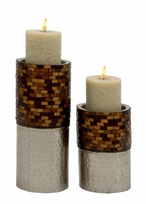 Classy Set Of Two Metal Mosaic Candle Holder - 24005 by Benzara
