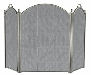 Classy Styled 3 Panel Satin Pewter Large Diameter Folding Screen