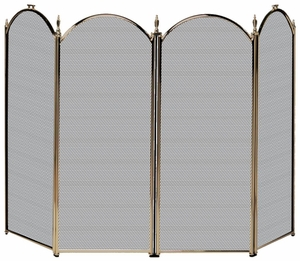Classy Styled 4 Fold Antique Brass Screen