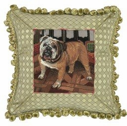 Classy Styled Fantastic Bulldog Petit Point Pillow by 123 Creations