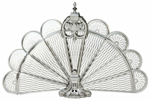 Classy Styled Pewter Finish Ornate Fan Screen