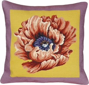Classy Styled Poppy - Lilac & Yellow Needlepoint Pillow by 123 Creations