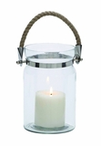Classy Styled Shanghai Glass Metal Lantern Rope Handle by Woodland Import